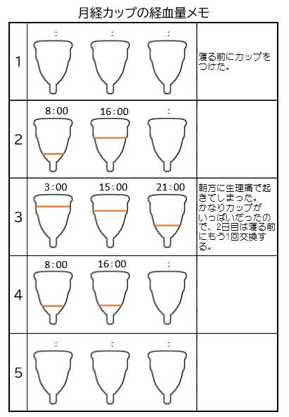 月経カップの経血量メモ記入例